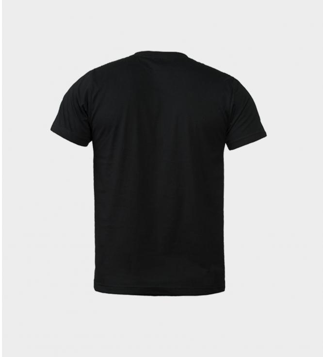 შავი მაისური დიდი თეთრი ბორჯღალით უკანა მხარე